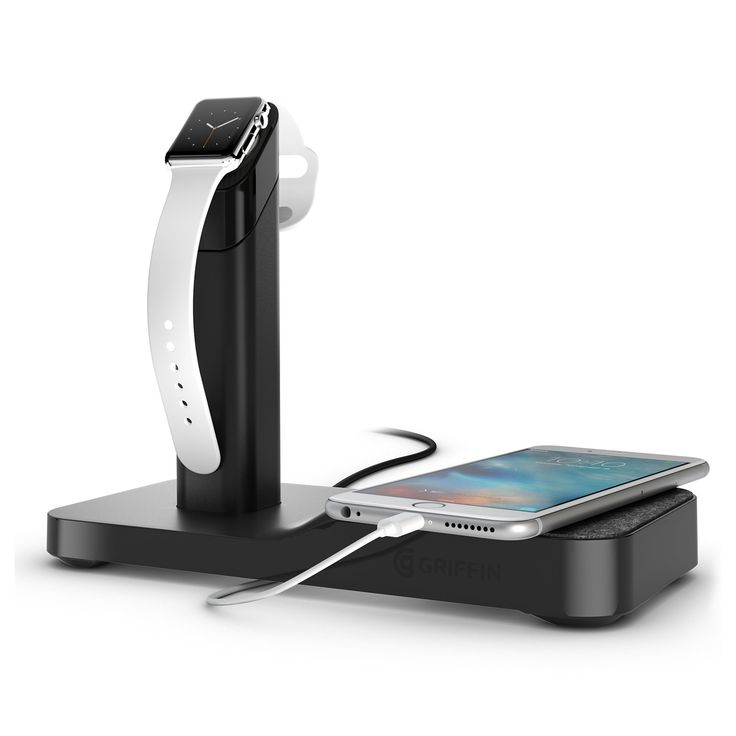 Griffin WatchStand Powered Charging Station & Cord Management for Apple Watch & iPhone - All-In-One Charging Station for Apple Watch & iPhone