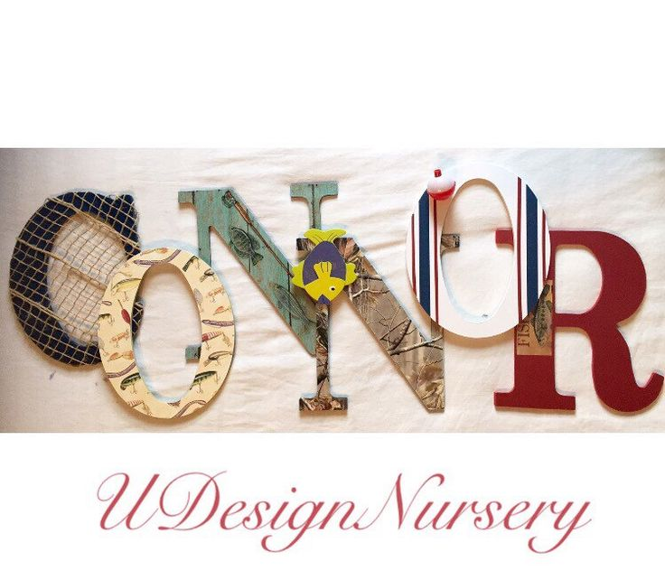 Fishing Themed Wall Letters - Baby Boys Nursery - Fishing Decor - Kids Rooms - Baby Shower Decor - Fishing Nursery - Wooden Letters by UdesignNursery on Etsy https://www.etsy.com/listing/448594152/fishing-themed-wall-letters-baby-boys