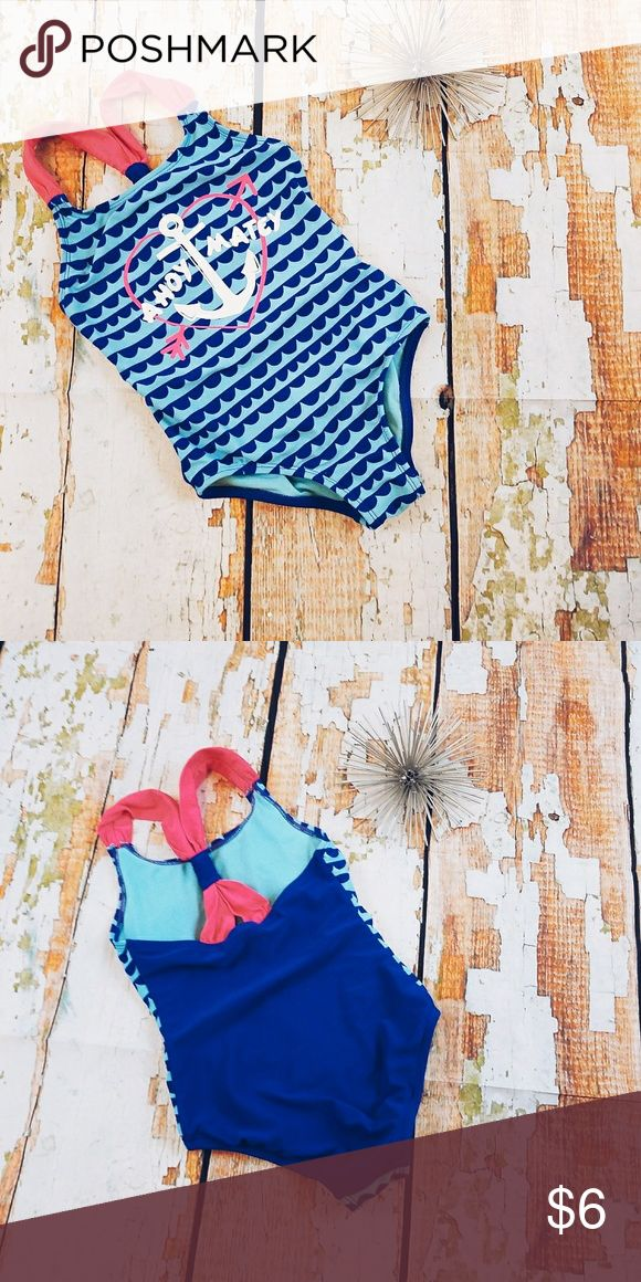 Anchor Bathing Suit Pink & Blue Pink and blue nautical themed bathing suits with anchor on the front. Swim One Piece