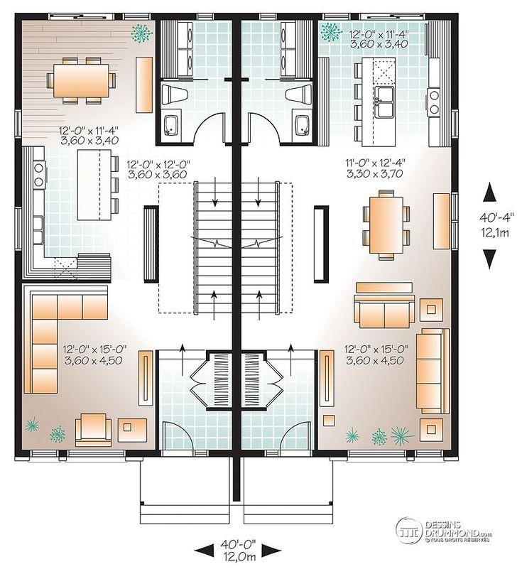 13 best maison jumelée images on Pinterest Garage plans, Garage - plan petite maison 70 m2