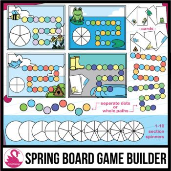 Spring Game Board Builder Clip Art - for Cards or Spinners