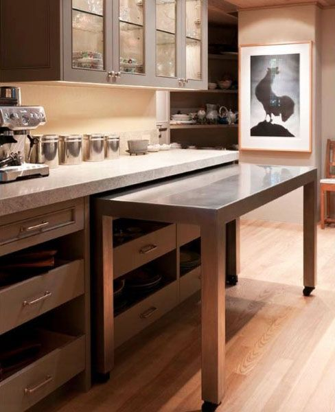 A Pull Out Island - This clever island on wheels pullw out from the cabinetry as needed.