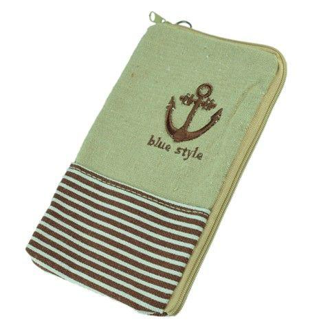 Marine-Art-Streifen Pouch Tasche für Handy / Gadgets (Brown)