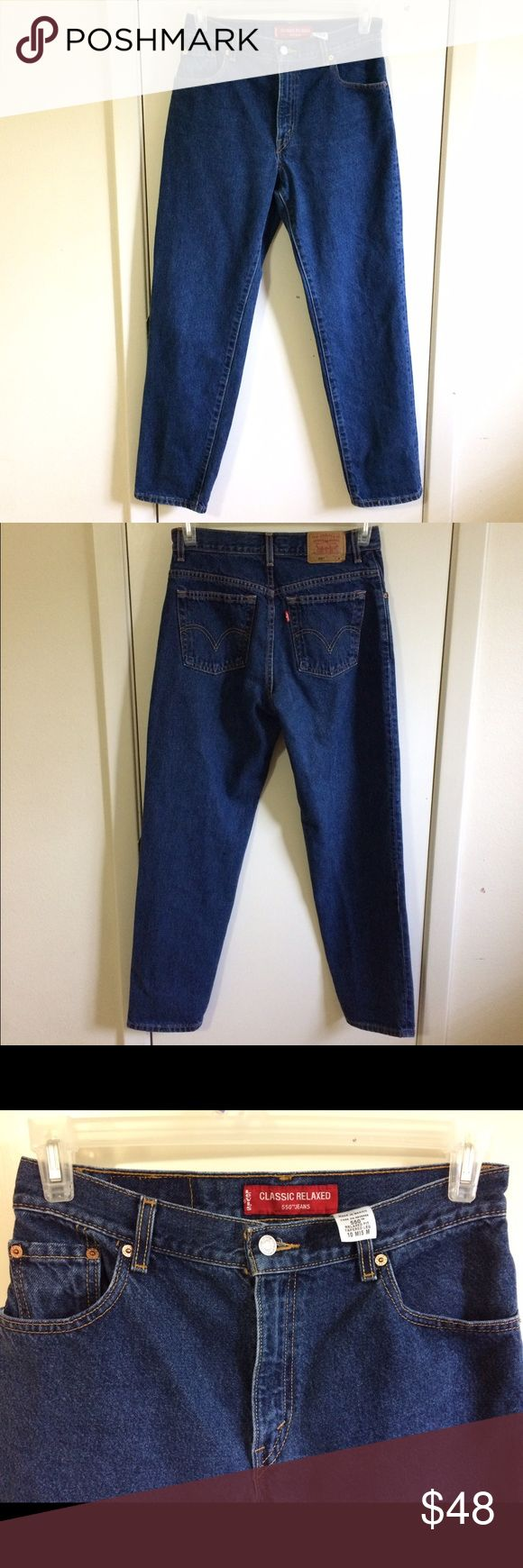 Levis vintage classic relaxed fit 550 jeans Dark wash mom jeans. Like new. Best jeans ever created. 100% cotton. Fits waist 30. Inseam 30. Rise 11. View all pics and ask any questions before purchase all sales are final Levi's Jeans Boyfriend