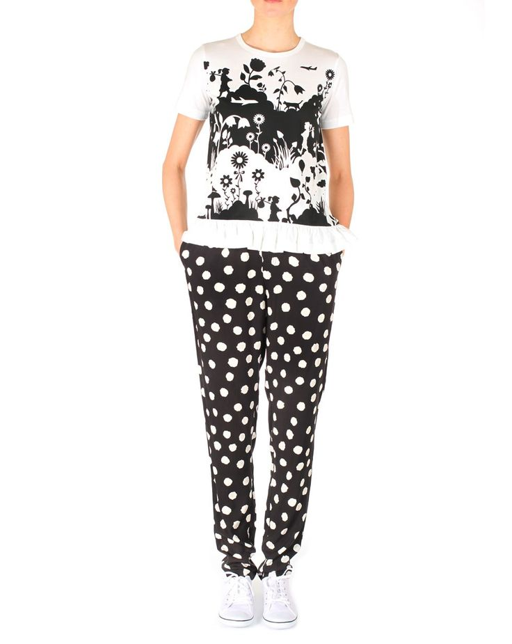 Long Boat Pant in Black by Karen Walker Black and White Spot