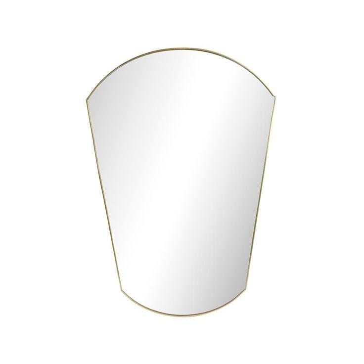 Unique Deze gouden ovalen spiegel is gemaakt van glas en metaal en de rand is super subtiel