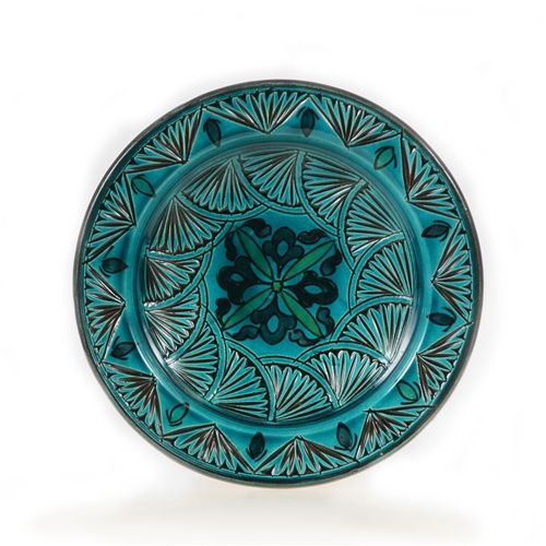 Teal Carved Small Moroccan Decorative Plate