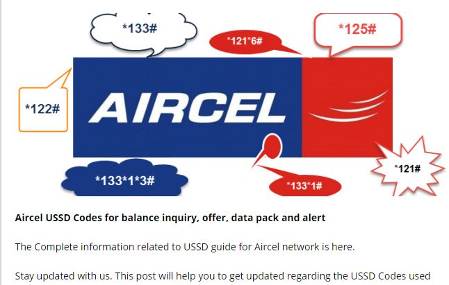 Aircel USSD Codes for balance inquiry, offer, data pack and alert. #Aircel #OnlineRecharge #RechargeGuru #Happy_Recharge  http://onlinerecharge.co.in/blogs/recharge/list-of-all-aircel-ussd-codes/