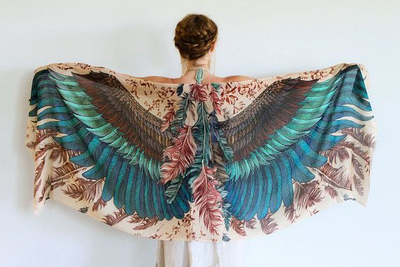 Exotic colors Women COTTON scarf, Hand painted printed Wings and feathers, stunning unique and useful, perfect gift