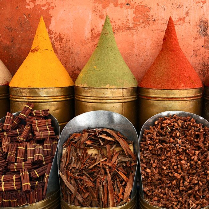 Spices for sale at the colorful Marché Central outdoor bazaar. See where else we're traveling in Casablanca, Morrocco including Imperial Casablanca Hotel & Spa, Hassan II Mosque, the Four Seasons Hotel, and more.