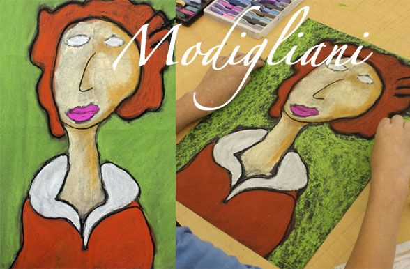 Modigliani-Art-Project Modigliani portraits have become an art room staple, thanks in no small part to Kathy over at Art Project for Kids for providing a simple, fool-proof technique for imitating the elongated faces made famous by Amedeo Modigliani