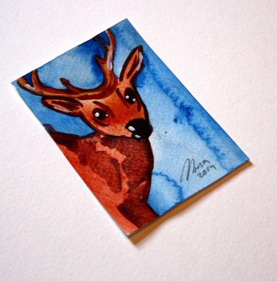 Little Deer Original ACEO Animal Art - Watercolor Painting - Deer Illustration - Animal & Wildlife Art by Niina Niskanen