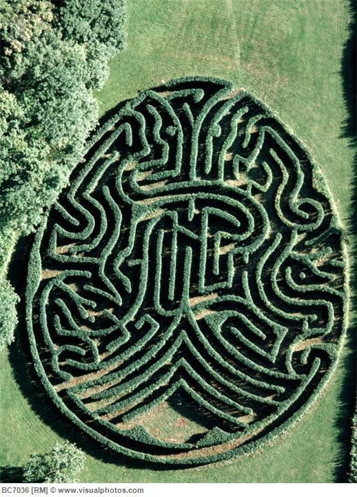 """An unusual Egg shaped maze. The Duke of Varmland Maze, Saby, Sweden, designed by Adrian Fisher. Actually this image is upside down. The other way up a tree is visible with adam and eve either side. Its heavy with symbolism, including an eagle and a serpent. Its a typical Fisher design though interestingly the maze differs in subtle ways from his original paper design (ref: secrets of the maze by Adrian Fisher)."""