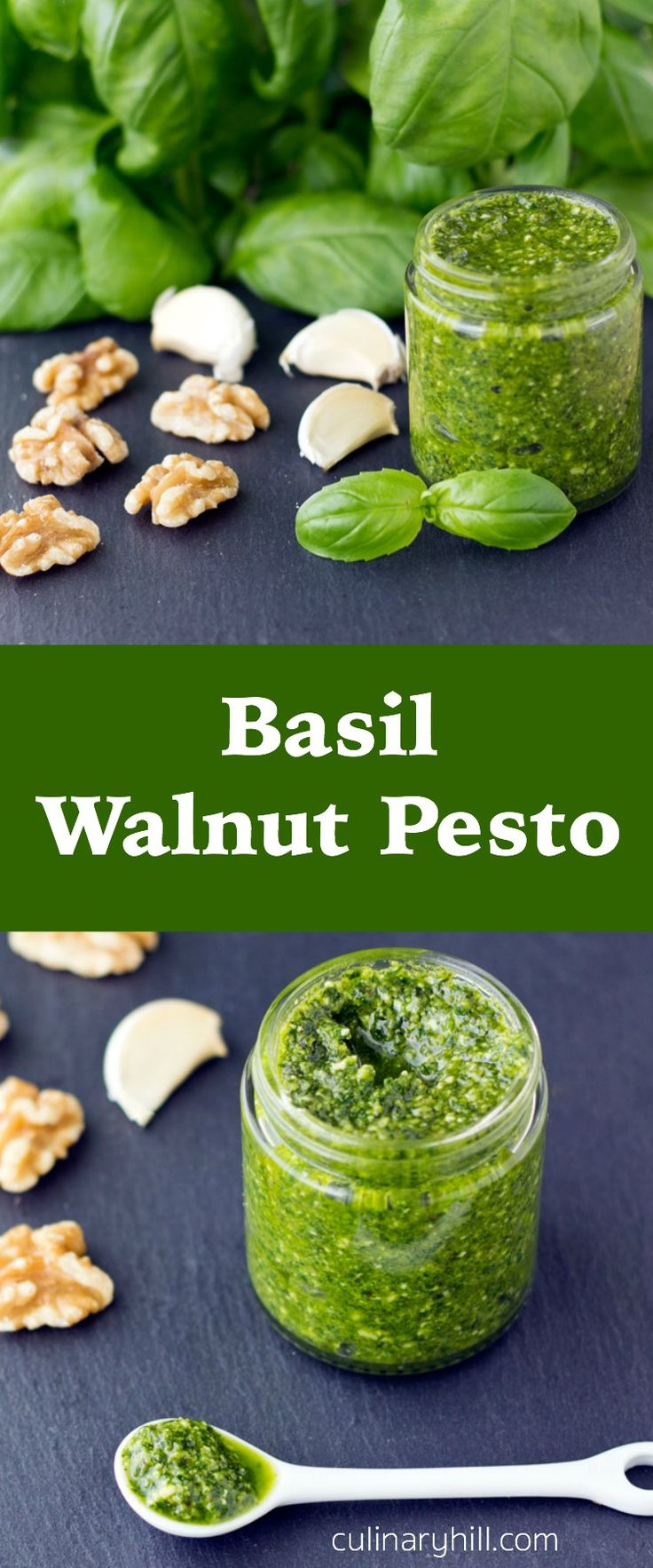 Basil Walnut Pesto comes together in about 15 minutes with just 4 ingredients. Great for pasta, sandwich spreads, and soup garnishing! Freezer-friendly.