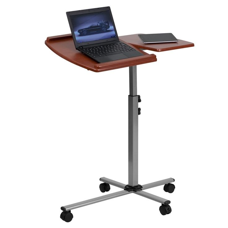 iHome Malcom Angle & Height Adjustable portable Laptop Home/Office Computer Table w/Cherry Top, Red, Size Small