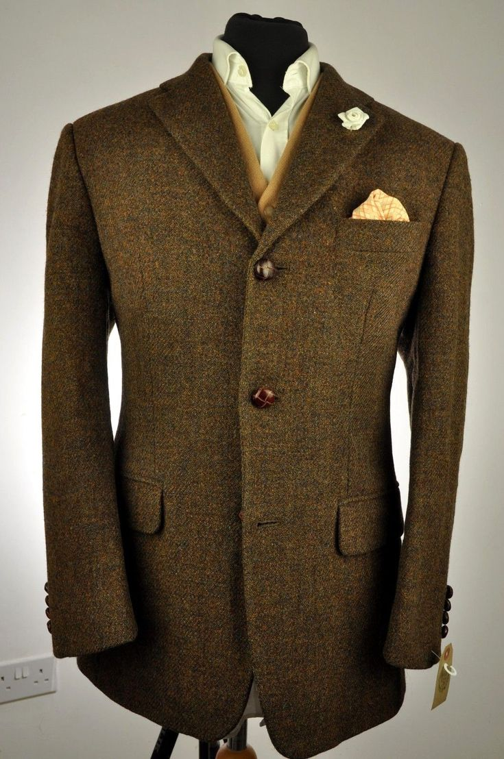 "Vtg Harris Tweed HIGHMOOR Country Tailored Hacking Jacket 44"" #520 EXCELLENT 