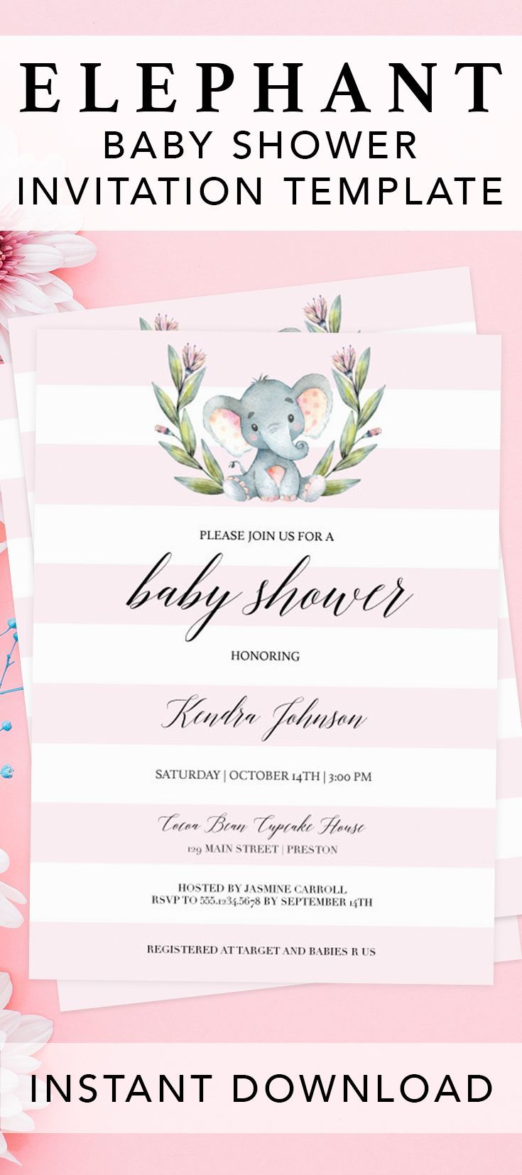 Pink elephant baby shower invitation by LittleSizzle. Click through to create your own girl baby shower invitation or re-pin for later. Make the perfect announcement of your elephant themed baby shower with this pink elephant baby shower invite for girls. This printable invitation template is an instant download, so simply download, edit and print in just minutes! Make it a fun and easy DIY project. #babyshowerideas #babyshowerinvitations #girlbabyshower #pink #girl #elephant #printable #diy