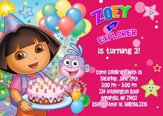 Dora the Explorer Birthday Party Invitation  por FunPartyInvitation, $7.99