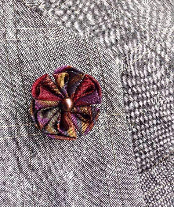 Mens Lapel Pin Flower Lapel Pin Kanzashi Pin by exquisitelapel