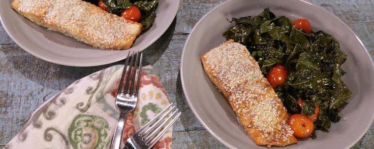 Balsamic Salmon and Kale Sheet Pan Dinner