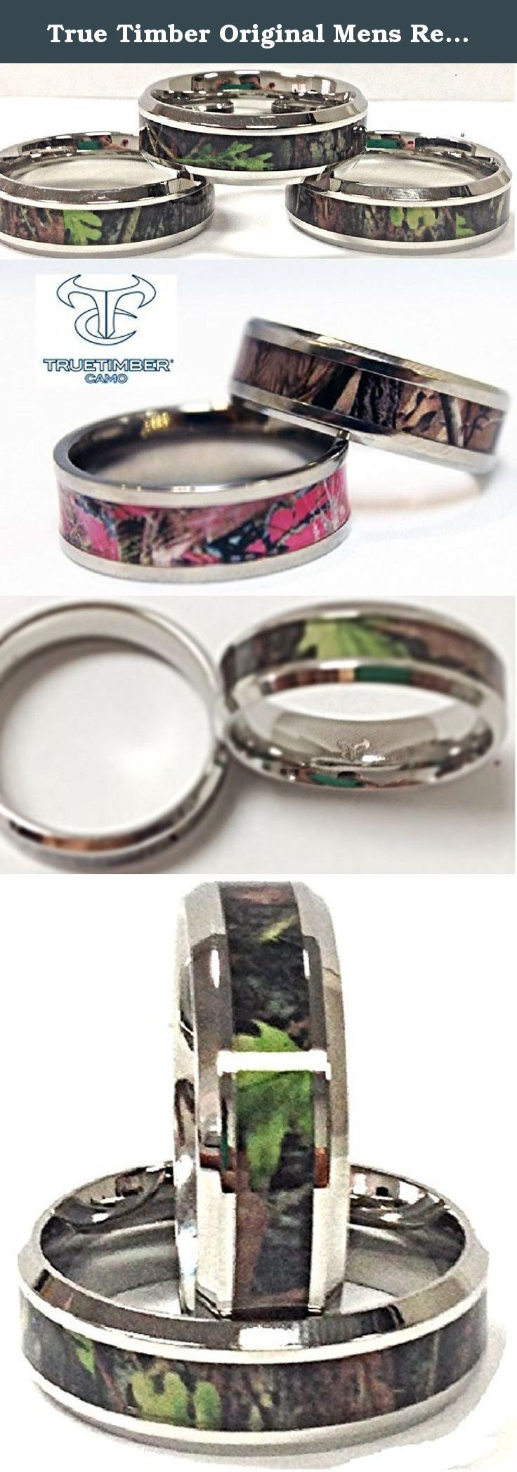 True Timber Original Mens Real Green Camo Ring Size 14. True Timber® Original Camouflage Band inlay was designed from real images of trees, branches and leaves. A duo that appreciate everything together in the outdoors, celebrate your commitment with this clever and meaningful ring. Fashioned in sleek and durable Stainless Steel, ladies band feature a colorful True Timber® camouflage inlay. Beveled edges and a buffed luster complete this handsome style, while a rounded shank provides a...