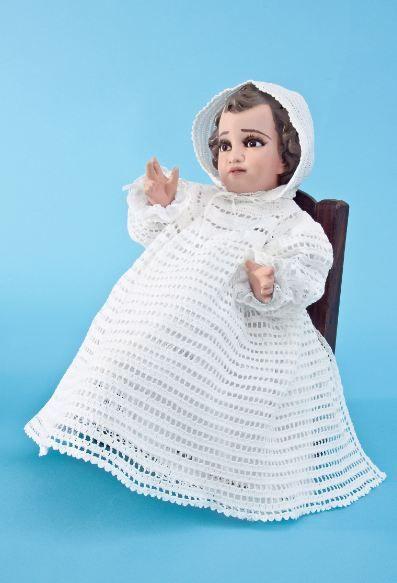 Ropón para niño Dios tejido con horquilla
