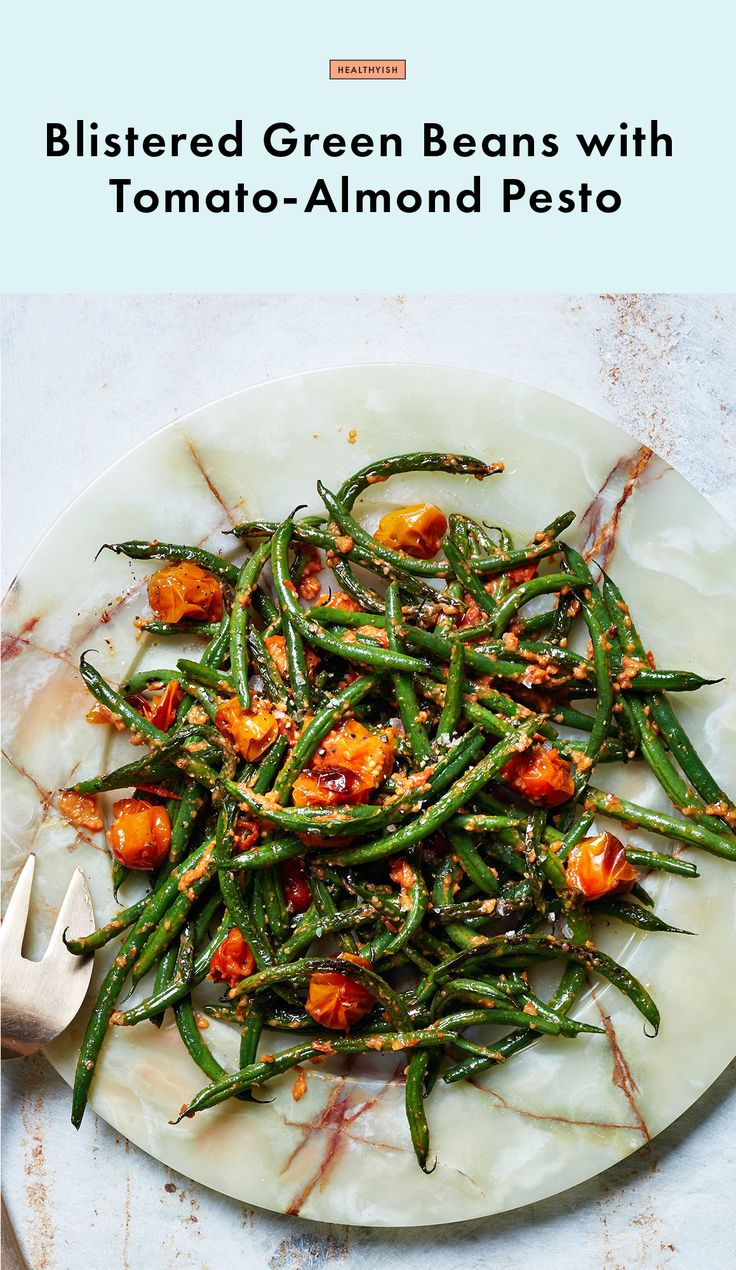 Blistered Green Beans with Tomato-Almond Pesto Recipe | Bon Appetit