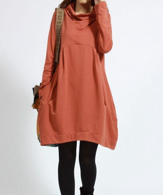 Casual A Shaped Long Sleeved Pile Collar Cotton T-shirt Blouse for Autumn and Spring - Deep Orange - Long Sleeve Women Clothing (S-XL)