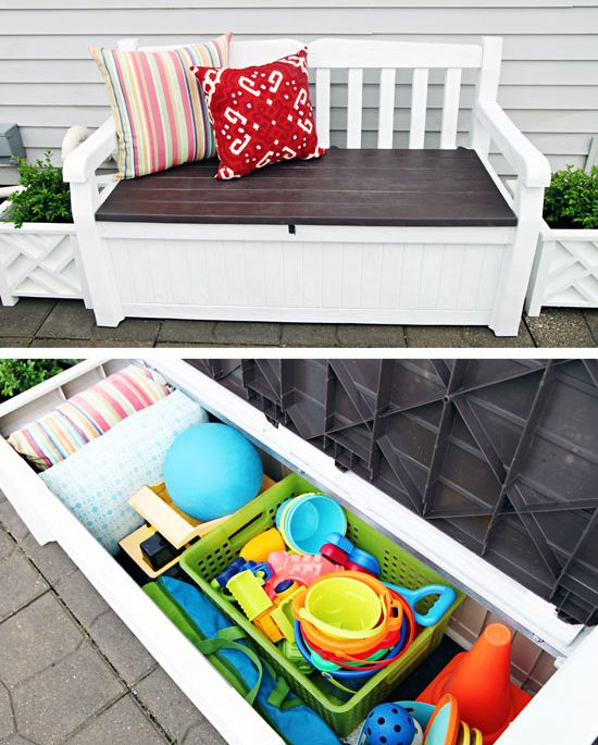 Okay. Your backyard is now the kid friendliest backyard around, but where are you going to store all those toys? Hide them in a storage bench. Storage and seating in one piece. Found on I Heart Organizing.