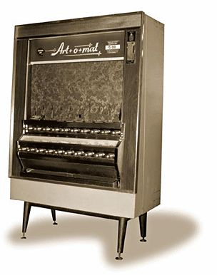 Art-O-Matic. I love this idea.  Old cigarette vending machines are filled with limited edition artist works, you can find them in museums.