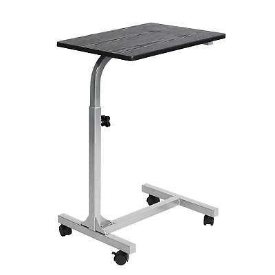 Overbed Table Tray with Wheels Black Adjustable Multi-purpose Laptop Cart Desk