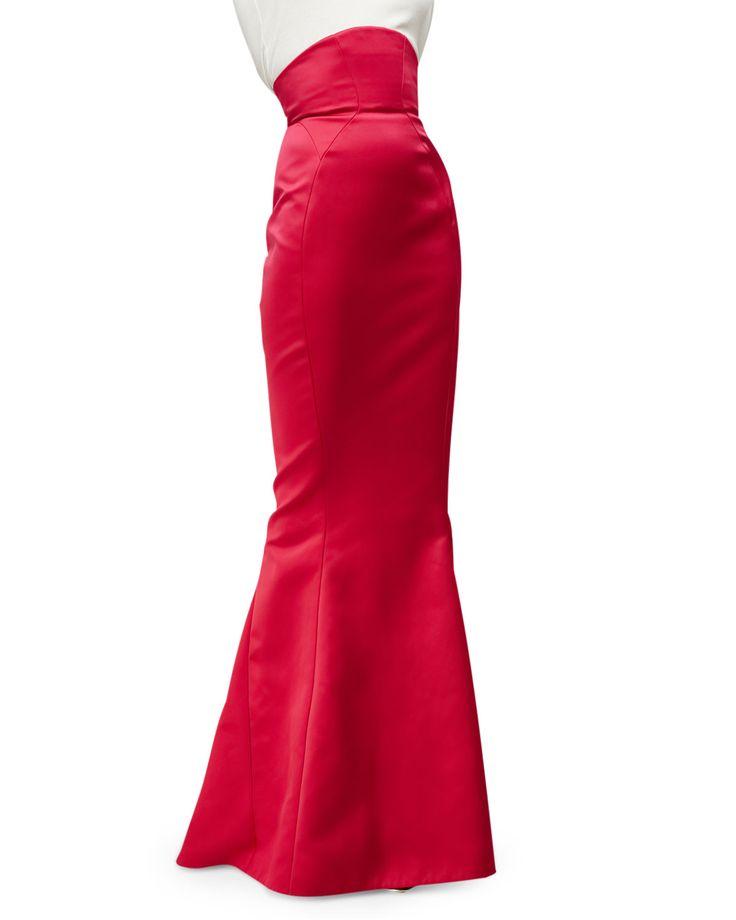 High-Waist Mermaid Skirt, Fuchsia (Pink), Women's, Size: 12 - Zac Posen