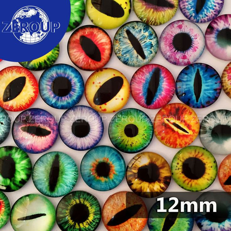50pcs/lot 12mm round glass dome cabochon eyes mixed pattern fit cameo base setting for jewelry embellishment flatback