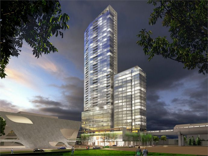 A night time image of the boutique Surrey Civic Plaza real estate proposal