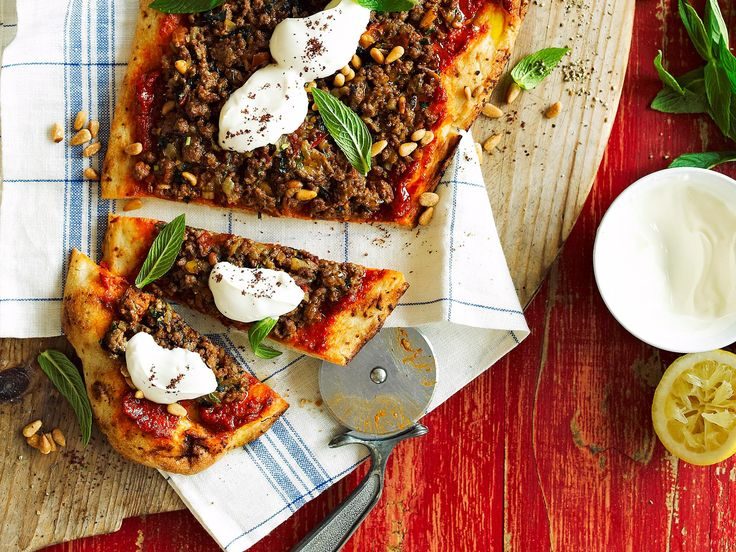 Packed full of flavour and spice, this Middle Eastern style lamb pizza is perfect for wowing your guests. This dish is divine served topped with Greek yoghurt and sprinkled with fresh mint, parsley and sumac.