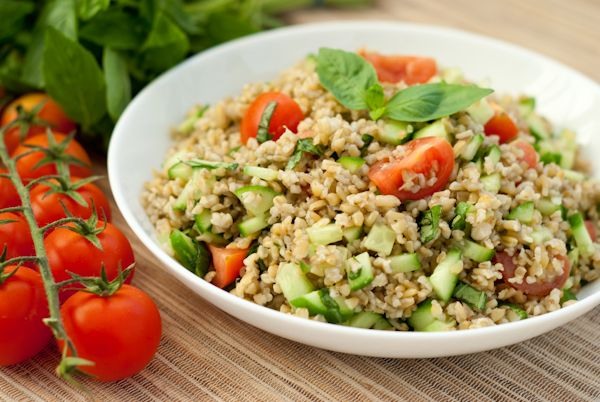 Freekeh salad recipe...yum, plus has everything the little one loves!