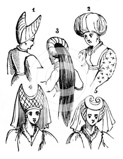 Women's headdresses, 15th century, (1910). Female fashions from the time of Henry VI (1422-1471). The turban headdress in the centre has hair flowing through it and down the back. The horned headdress became fashionable in about 1420. Illustration from British Costume during 19 Centuries by Mrs Charles H Ashdown, (London, 1910).
