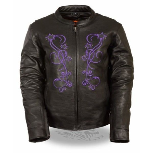 Milwaukee purple reflective vine star womens leather motorcycle jacket with purple reflective vine and star and conceal carry gun pockets for motorcycle riders.