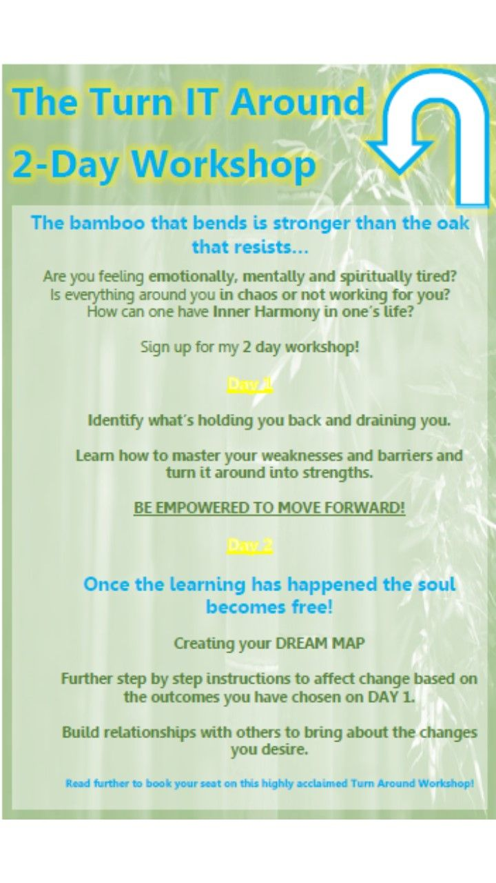 Join us for a Turn Around Workshop - 5th and 6th July 2014 https://www.facebook.com/events/670646796303936/?ref_newsfeed_story_type=regular