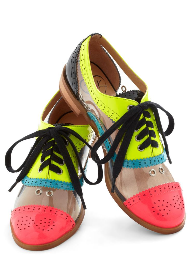 Bright Student Flat - Low, Multi, Solid, Cutout, Menswear Inspired, Colorblocking, Neon