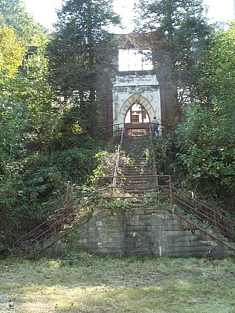 Ruins of an old junior high school in Coalwood, West Virginia.