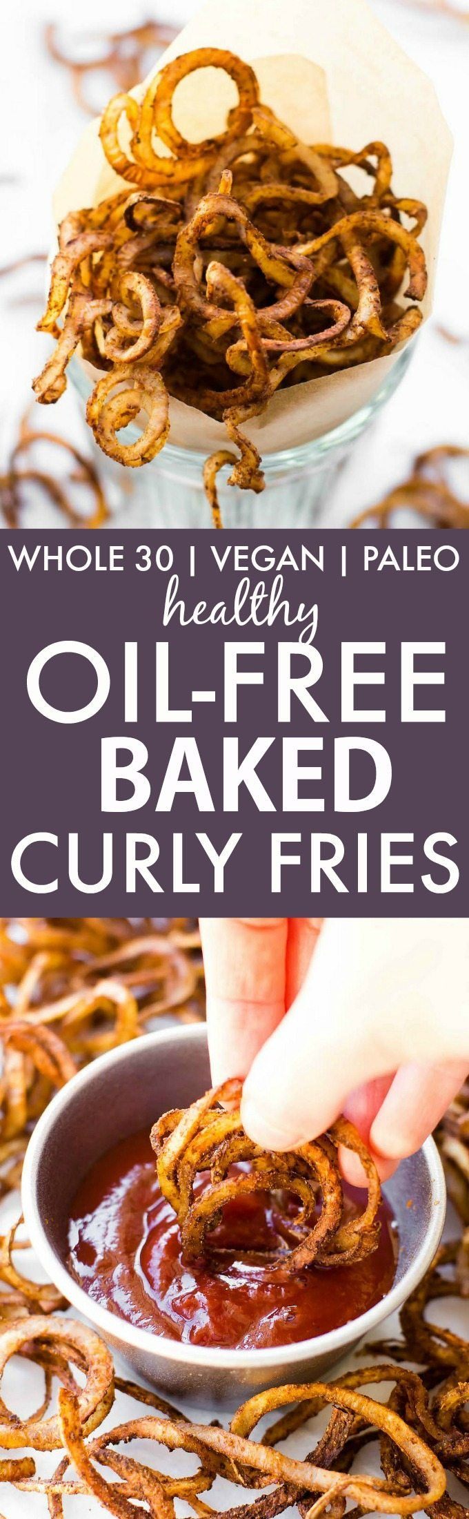 Oil-Free Baked Curly Fries that taste so much like the fried fast food original it's hard to believe they are healthy!!