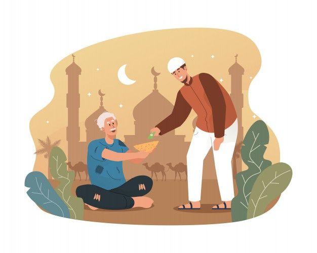 Young Muslim Man Giving Money To Homeless People Islamic Cartoon Muslim Character Anime Muslim