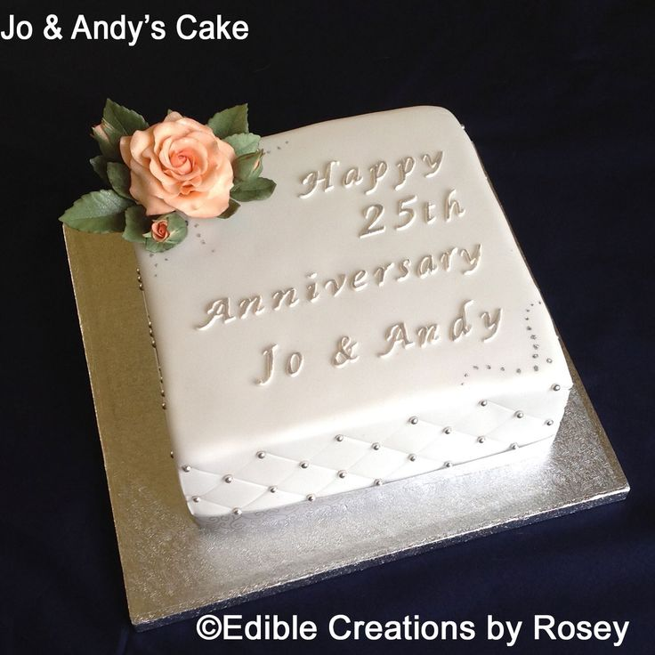 Silver 25th wedding anniversary cake with sugarpaste rose by Edible Creations by Rosey