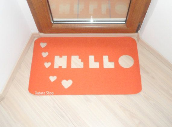 Floor Mat Hello With Hearts Cut Out Doormat Home Decor