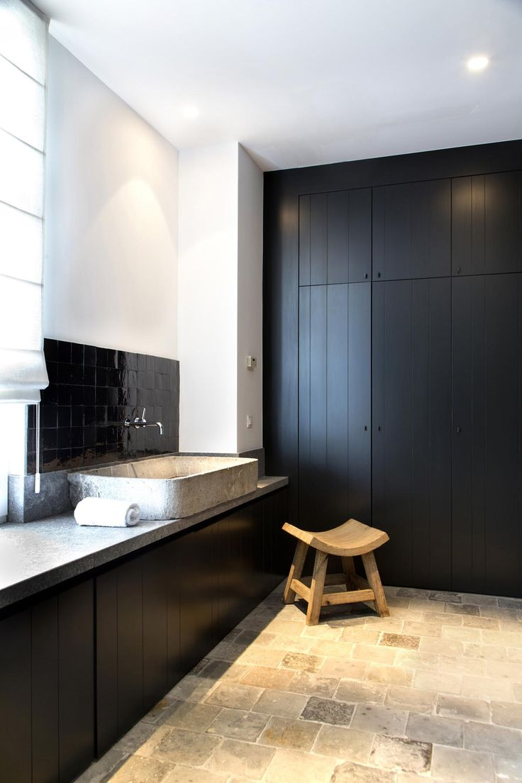 black painted tongue and groove doors in bathroom. A great way to add fitted storage in a small space