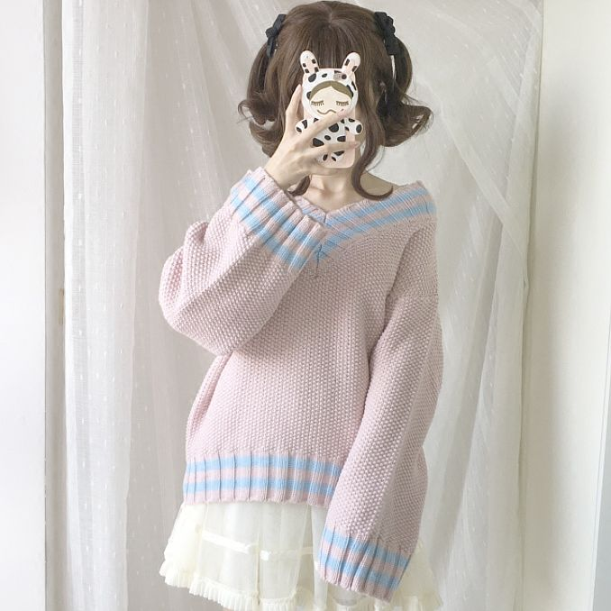 Cute Womens Clothing Knit Sweater on Girly Girl の To Alice.Pink Blue Patchwork V-Neck Knit Sweater Japanese Lolita Pullover Gg653 is a must to make an amazing outfit. You can wear it in any occasion - school, office, dates, and parties.