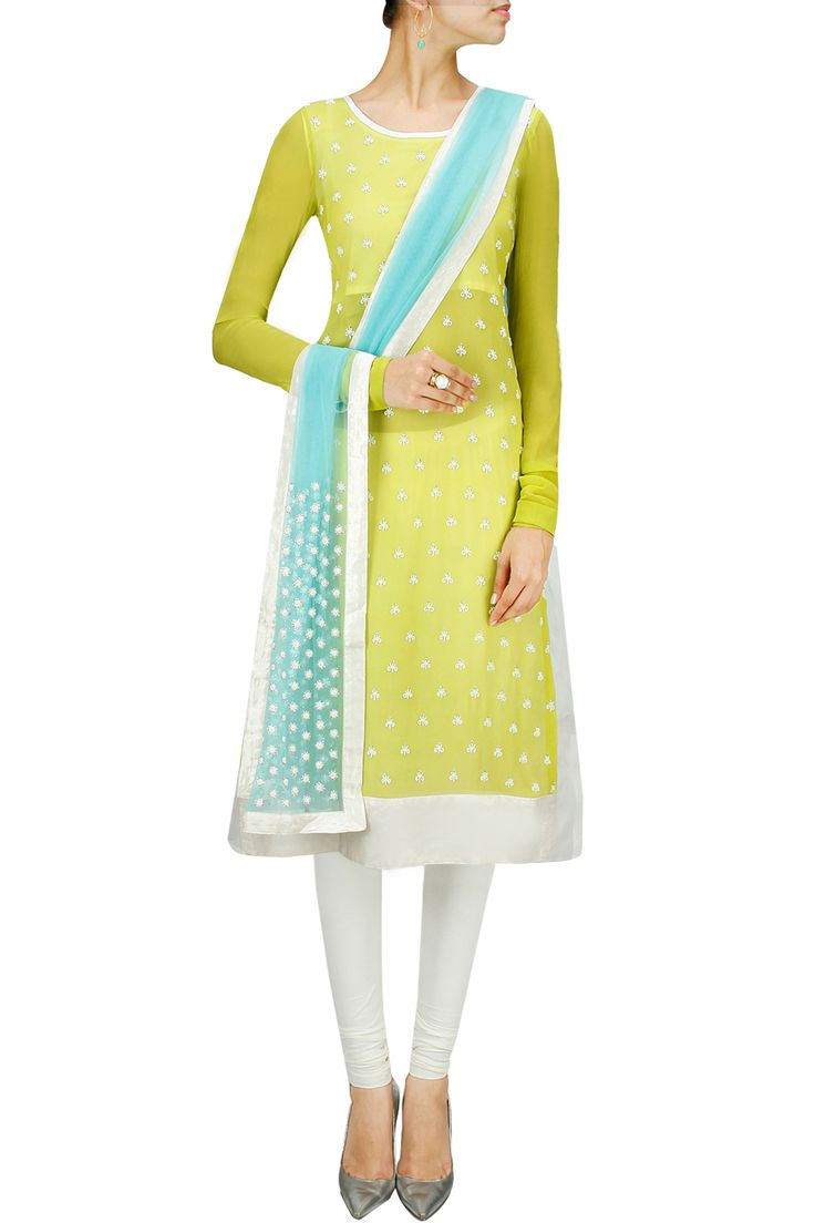 Lime green and turquoise pearl and sequins embroidered kurta