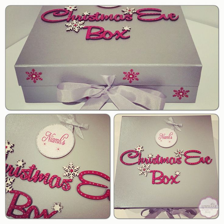 Christmas Eve box Silver with personalised bauble By Epiphany Designs NI