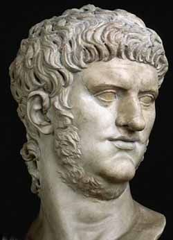 Emperor Nero aka. Nero Claudius Caesar Augustus Germanicus (37-68CE) was adopted by Emperor Claudius. His reign was characterized by extravagance and tyranny. Guilty of many murders, he was morally weak and very sensual. He was accused of allowing the fire that destroyed 2/3s of Rome to burn.